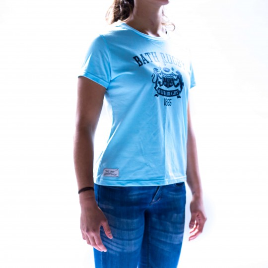 Bath Rugby 1865 Womens Large Logo Tee - Pale Blue