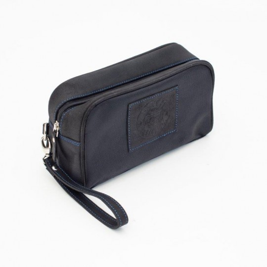 Bath Rugby Leather Wash Bag- Black