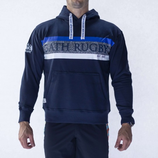 Bath Rugby 1865 Striped Supporter Hoodie - Navy
