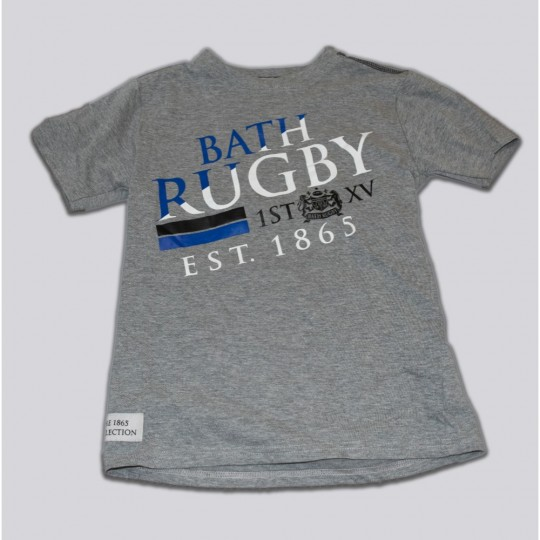 Junior Bath Rugby 1865 Asymetric Tee - Grey