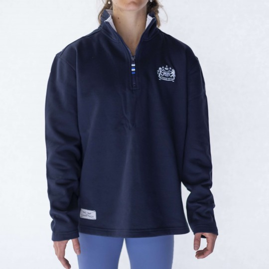 Womens Bath Rugby 1865 Zip Neck Jumper - Navy
