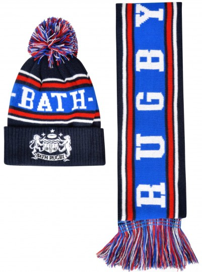 Junior Bath Rugby 1865 Hat Scarf Set - Black
