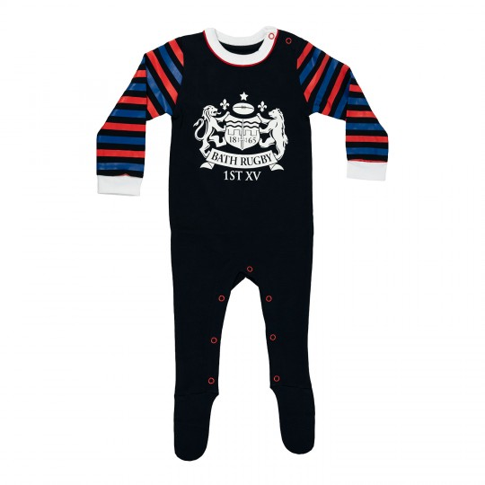 Bath Rugby Infant Striped Sleepsuit - Navy
