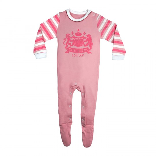 Bath Rugby Infant Striped Sleepsuit - Pink