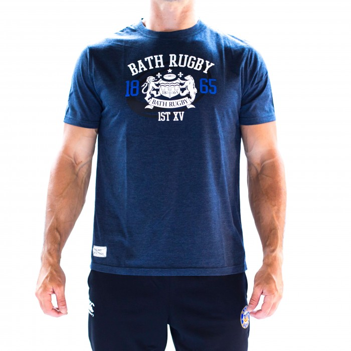 Bath Rugby 1865 Rugby Ball Tee - Navy
