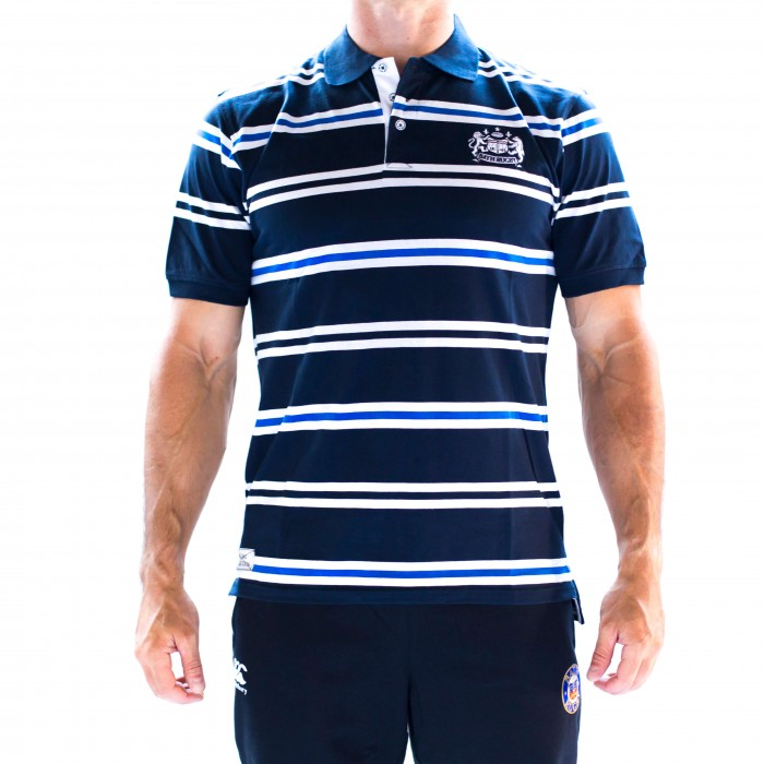 Bath Rugby 1865 Coll Navy Stripe Polo - Navy Blue