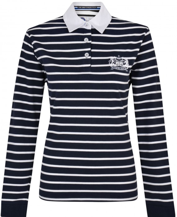 Womens Bath Rugby 1865 White Collar Rugger - Navy