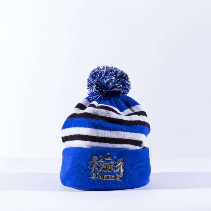 Bath Rugby 1865 Hooped Bobble Beanie