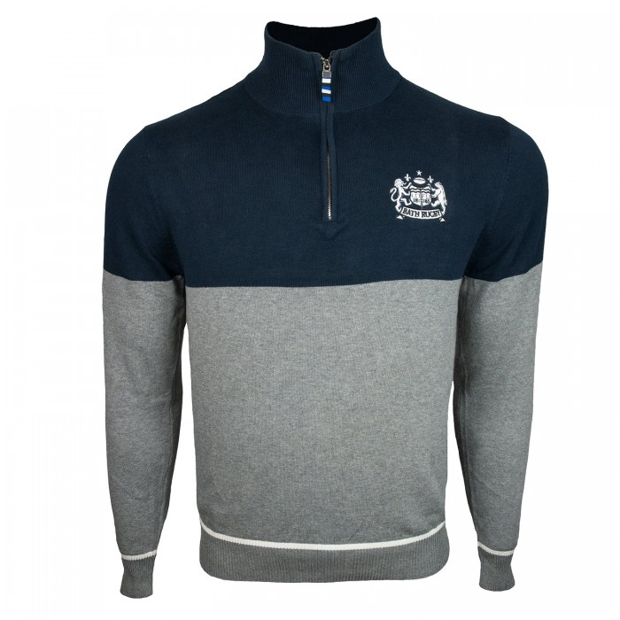 Bath Rugby Mens Two Tone Panel 1/4 Zip